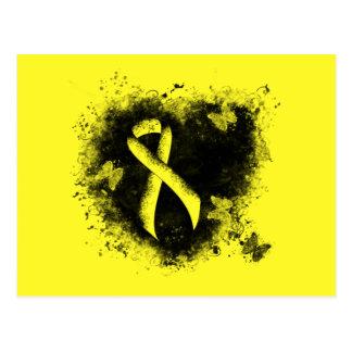 Carte Postale Coeur jaune de grunge de ruban
