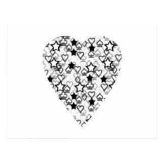Carte Postale Coeur noir et blanc. Conception modelée de coeur