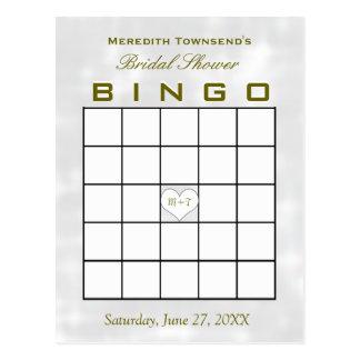 Carte Postale Coeur nuptiale de monogramme de bingo-test de