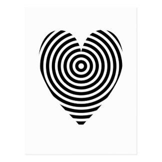 Carte Postale Coeur optique noir et blanc de cercles d'art de