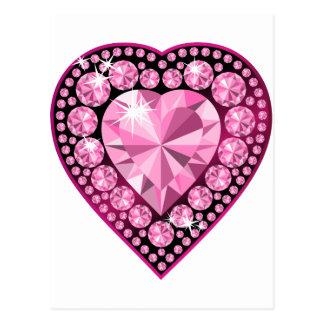Carte Postale Coeur rose de gemme de quartz