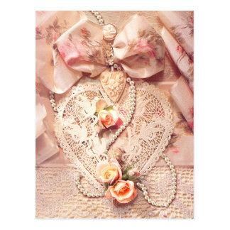 Carte Postale COEUR, ROSES et PERLES de DENTELLE par SHARON