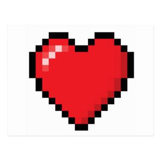 Carte Postale Coeur rouge de jeu vidéo de Pixelated