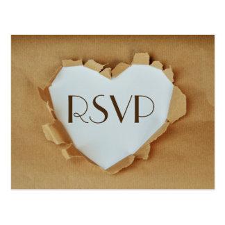 Carte Postale Coeur rustique de sac de papier de Brown épousant