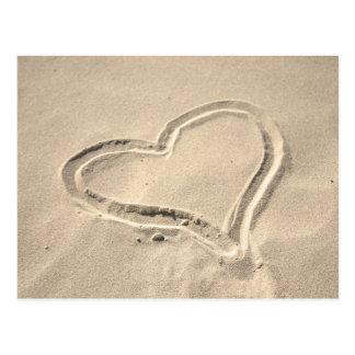 Carte Postale Coeur sur le sable
