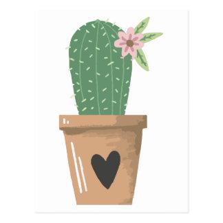 Carte Postale Coeur vert d'amour de fleur de cactus d'aquarelle
