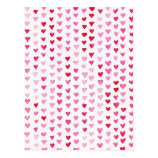 Carte Postale Coeurs d'aquarelle