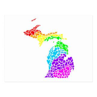 Carte Postale coeurs d'arc-en-ciel de fierté du Michigan
