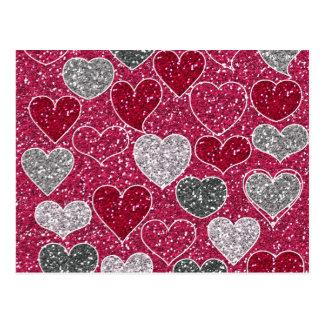 Carte Postale Coeurs de Bling d'amour de scintillement de