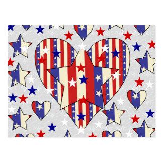 Carte Postale Coeurs de Jour de la Déclaration d'Indépendance