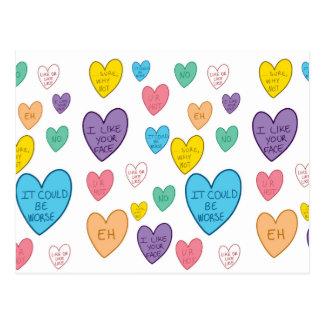 Carte Postale Coeurs de sucrerie