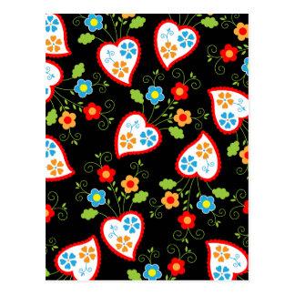 Carte Postale Coeurs floraux et romantiques