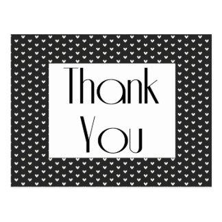 Carte Postale Coeurs noirs et blancs de rétro Merci saluant