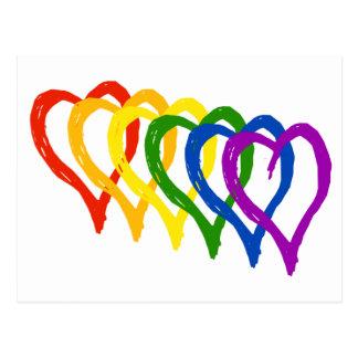 Carte Postale Coeurs posés par arc-en-ciel de gay pride de