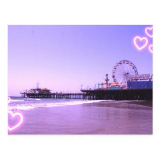 Carte Postale Coeurs pourpres de pilier de Santa Monica