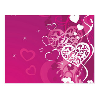 Carte Postale Coeurs roses