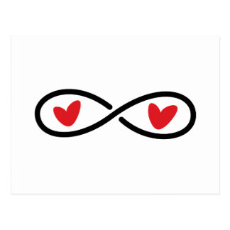 Carte Postale Coeurs rouges de symbole d'infini épousant des