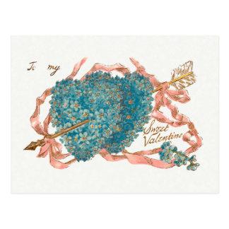 Carte Postale Coeurs vintages de myosotis