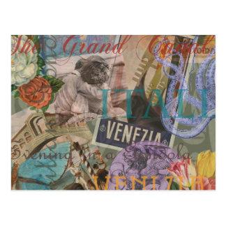 Carte Postale Collage à la mode vintage de voyage de Venise