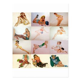 Carte Postale Collage de pin-up vintage - 12 filles magnifiques