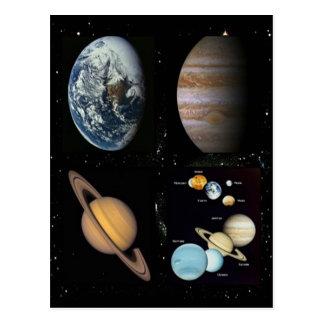 Carte Postale Collage de système solaire de planètes