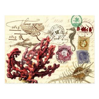 Carte Postale Collage d'espèce marine avec des cachets de la