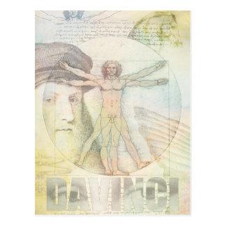 Carte Postale Collage d'homme de Léonard de Vinci Vitruvian