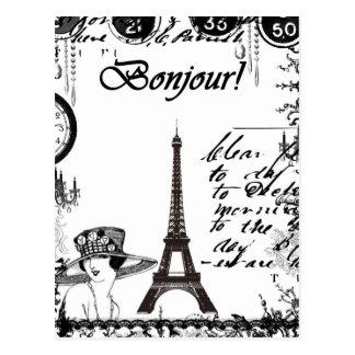 Carte Postale Collage français de Tour Eiffel