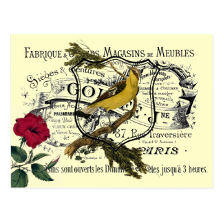Carte Postale Collage jaune vintage d'éphémères d'oiseau