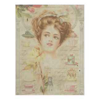 Carte Postale Collage minable de cadre vintage de Madame Elegant