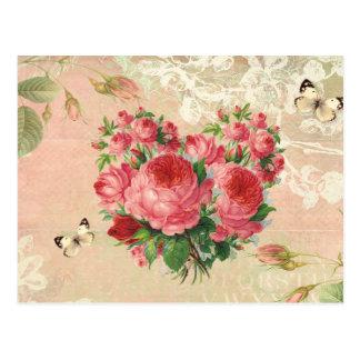Carte Postale Collage rose de coeur de cru Girly