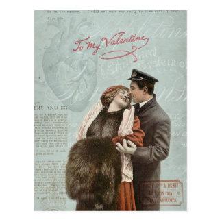 Carte Postale Collage vintage de coeur d'amour de couples de