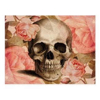 Carte Postale Collage vintage de crâne de Rosa
