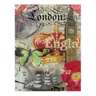 Carte Postale Collage vintage de voyage de Londres Angleterre