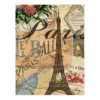 Carte Postale Collage vintage de voyage de Paris France