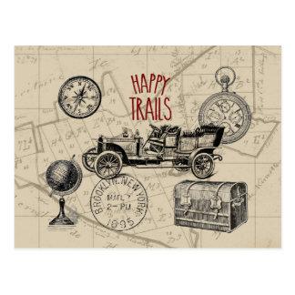 Carte Postale Collage vintage de voyage, voyage par la route de
