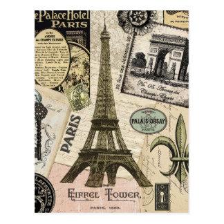 Carte Postale Collage vintage moderne de voyage de Français