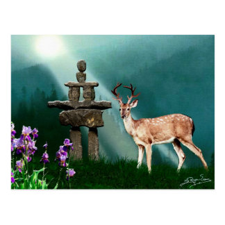 Carte Postale Collection de CERFS COMMUNS et d'INUKSHUK