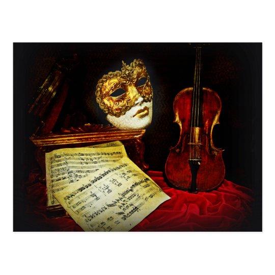 Carte Postale Collection vénitienne de masques - nuit musicale | Zazzle.fr