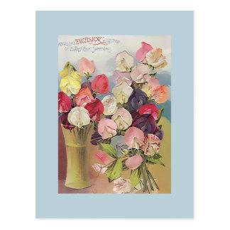 Carte Postale Collection vintage de laine de bois de Sweetpeas