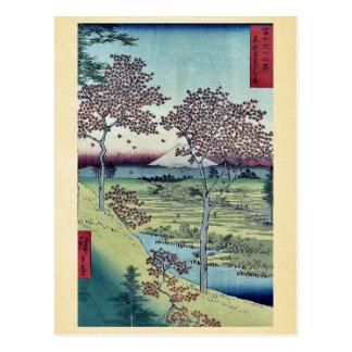 Carte Postale Colline de coucher du soleil par Ando, Hiroshige