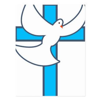 Carte Postale Colombe et croix de blanc
