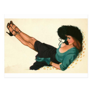 Carte Postale Coloration originale 15 de fille de pin-up vintage