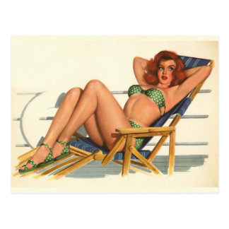 Carte Postale Coloration originale 22 de fille de pin-up vintage