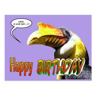 Carte postale colorée d'anniversaire de calao