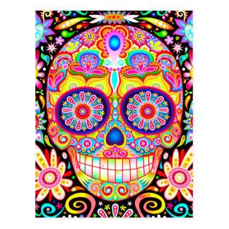 Carte postale colorée d'art de crâne de sucre -