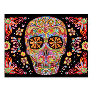 Carte postale colorée d'art de crâne de sucre