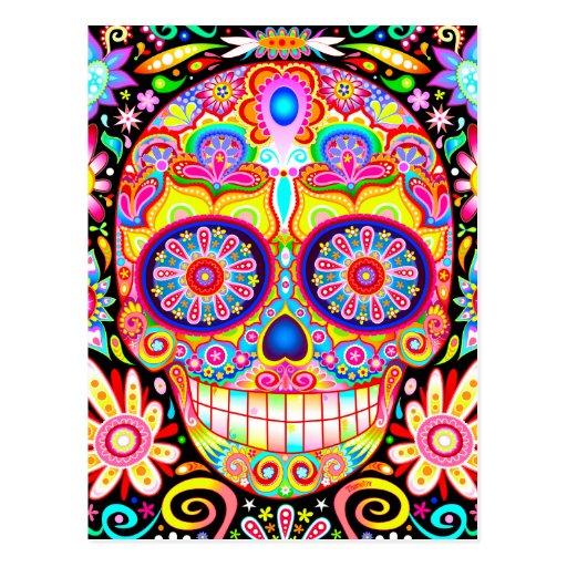 Carte postale colorée d'art de crâne de sucre - jo