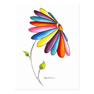 Carte postale colorée de fleur