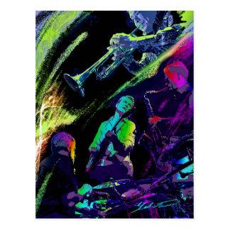 Carte postale colorée de jazz